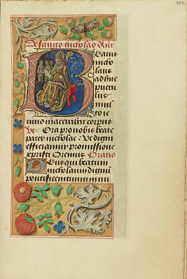 Prayer Drawing - Initial B Saint Nicholas Master Of The Dresden Prayer Book by Litz Collection