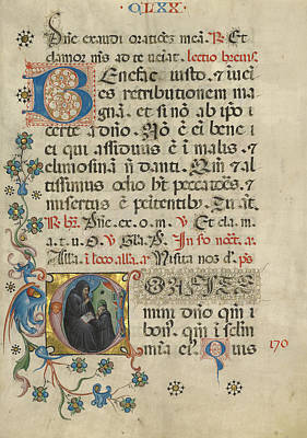 Initial C Saint Benedict Blessing Maurus Unknown Italy Art Print by Litz Collection