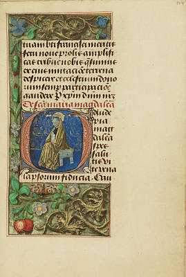 Prayer Drawing - Initial G Mary Magdalene Master Of The Dresden Prayer Book by Litz Collection