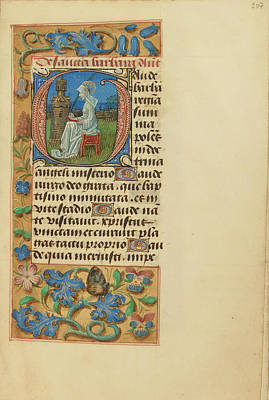 Initial G Saint Barbara Master Of The Dresden Prayer Book Art Print by Litz Collection