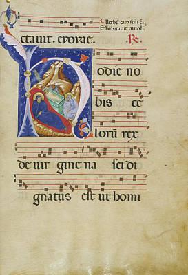 Initial H The Nativity Master Of Gerona, Italian, Active Art Print