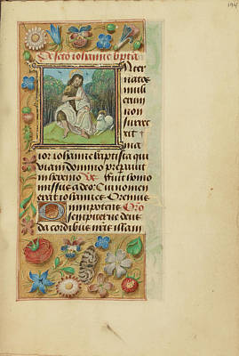 Prayer Drawing - Initial I Saint John The Baptist In The Wilderness Master by Litz Collection
