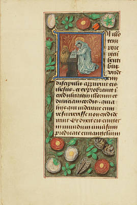 Prayer Drawing - Initial I Saint Mark Master Of The Dresden Prayer Book Or by Litz Collection