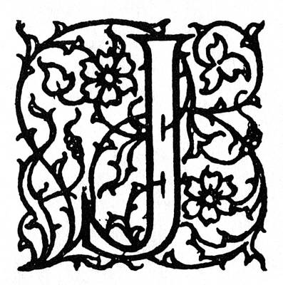 Painting - Initial 'j', C1900 by Granger