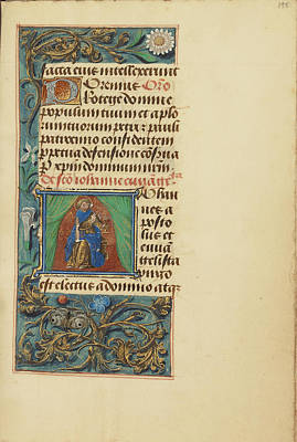 Prayer Drawing - Initial J Saint John The Evangelist Master Of The Dresden by Litz Collection
