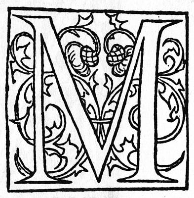 Painting - Initial 'm', 1544 by Granger