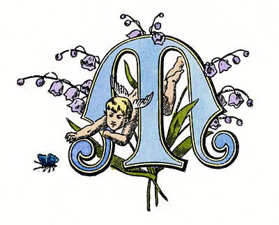 Lily Of The Valley Painting - Initial 'm', C1889 by Granger