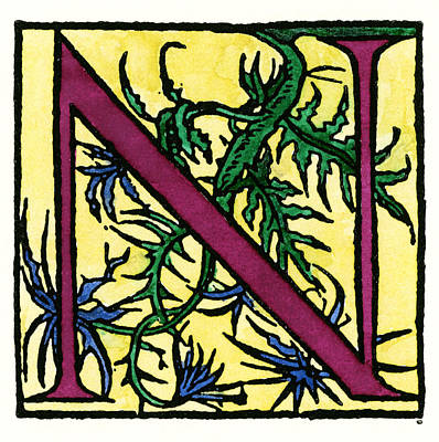 Painting - Initial 'n', 1544 by Granger