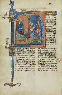 Initial N King James I Of Aragon Overseeing A Court Of Law Art Print