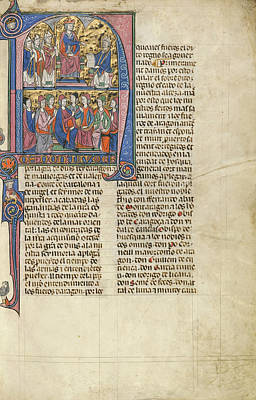 Initial N Vidal De Canellas Offering His Text To King James Art Print by Litz Collection