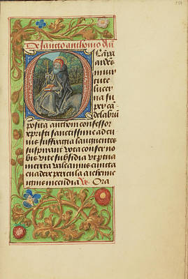 Prayer Drawing - Initial O Saint Anthony Abbot Master Of The Dresden Prayer by Litz Collection