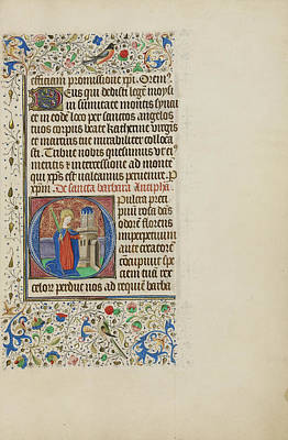 Initial O Saint Barbara Before A Tower Master Art Print by Litz Collection