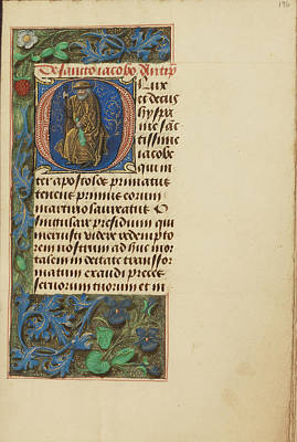 Prayer Drawing - Initial O Saint James The Greater Master Of The Dresden by Litz Collection