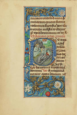 Prayer Drawing - Initial P Saint Peter And The Conversion Of Saint Paul by Litz Collection