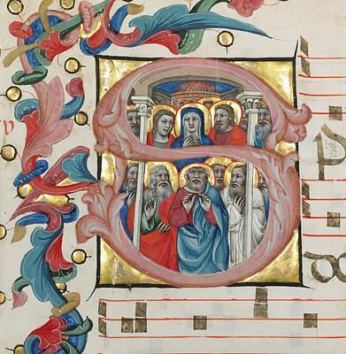 Initial S  Pentecost Niccolò Di Giacomo Da Bologna Art Print by Litz Collection