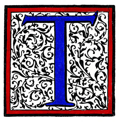 Painting - Initial 't', C1600 by Granger