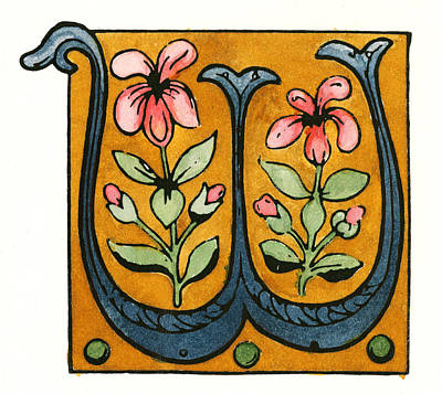 Painting - Initial 'w', 15th Century by Granger