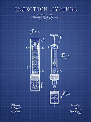 Injections Digital Art - Injection Syringe Patent From 1904 - Blueprint by Aged Pixel