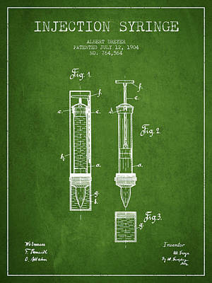 Injections Digital Art - Injection Syringe Patent From 1904 - Green by Aged Pixel