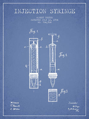 Injections Digital Art - Injection Syringe Patent From 1904 - Light Blue by Aged Pixel