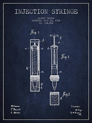 Injections Digital Art - Injection Syringe Patent From 1904 - Navy Blue by Aged Pixel
