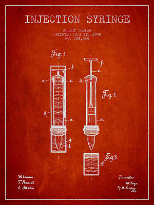 Injections Digital Art - Injection Syringe Patent From 1904 - Red by Aged Pixel