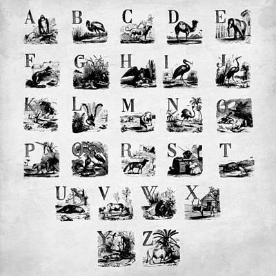 Alphabet Digital Art - Ink Animal Alphabet  by Gina Dsgn