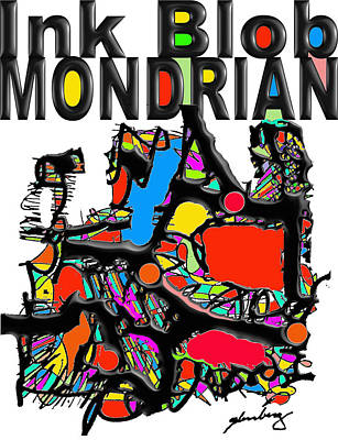 Verlyn Dean Gleisberg Mixed Media - Ink Blob Mondrian by Dean Gleisberg