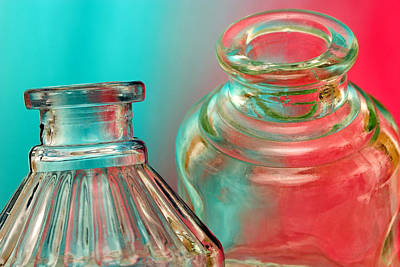 Inkwell Photograph - Ink Bottles On Color by Carol Leigh