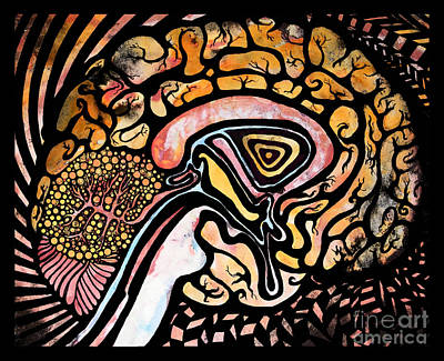 Psychedelic Drawing - Ink Brain by Beth Snow