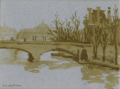 Whistler Painting - Ink Drawing Pont Du Carrousel Paris by Thor WickstromInk Drawing Pont