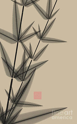 Digital Art - Ink Style Bamboo Illustration In Black by L.dep