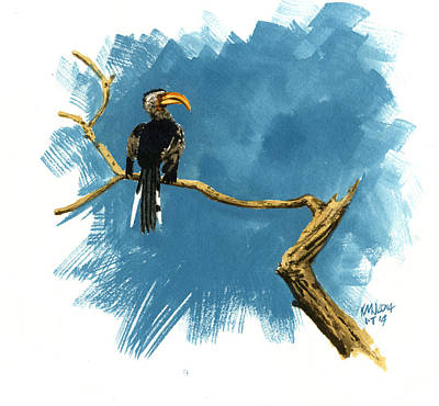 Hornbill Painting - Inktober 14 Sentry by Ken Meyer