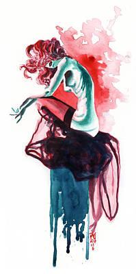 Drip Painting - Inktober 6 The Perch by Ken Meyer jr