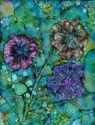 Ink Painting - Inky Blooms by Christine Crawford