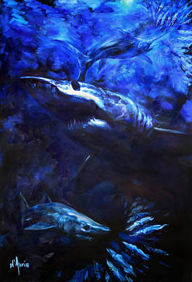Shark Painting - Inky Waters by Tom Dauria
