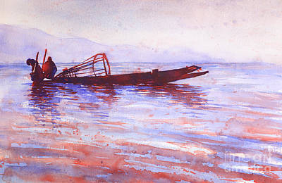 Painting - Inle Lake Rowers- Myanmar by Ryan Fox