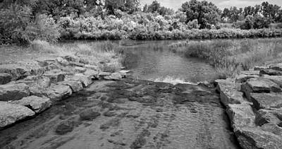 Stream Mixed Media - Inlet Bw by Angelina Vick