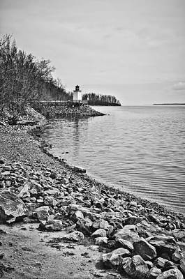 Photograph - Inlet Lighthouse 3 In B/w by Greg Jackson