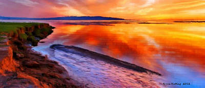 Art Print featuring the painting Inlet Sunset by Bruce Nutting