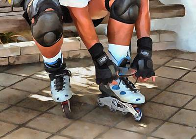 Roller Skating Painting - Inline Skater  by L Wright