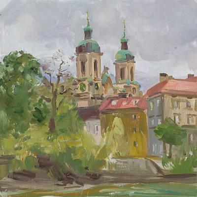 Inn River Embankment Original by Victoria Kharchenko