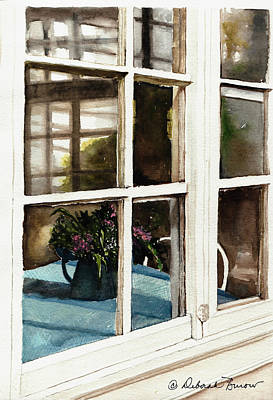 Pitcher With Flowers Painting - Inn Window by Deborah Burow