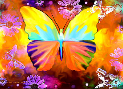 Painting - Inner Beauty Butterfly Painting by Annie Zeno