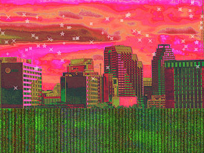 Digital Art - Inner City - Night Falls by Wendy J St Christopher