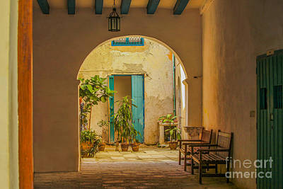 Inner Courtyard In Caribbean House Art Print by Patricia Hofmeester