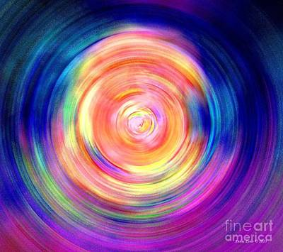Art Print featuring the digital art Inner Glow Abstract Art by Annie Zeno