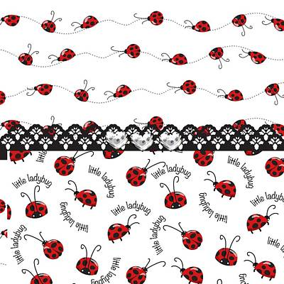 Innocent Ladybugs  Print by Debra  Miller