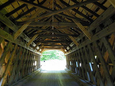 Photograph - Insdie Upper Falls Covered Bridge by Georgia Hamlin