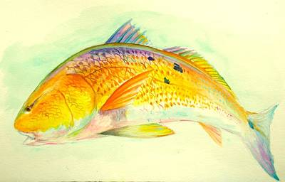 Flyfishing Painting - Inshore Gold  by Yusniel Santos